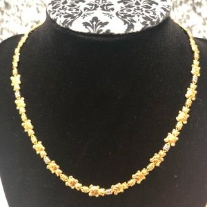 Beautiful gold bear short necklace with silver
